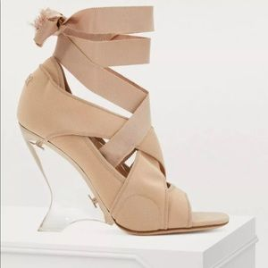 DIOR Etoile Lace-Up Clear Heel Wedge Pump